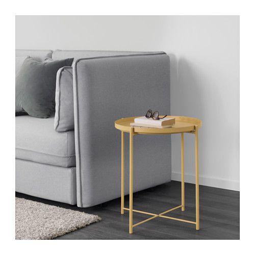 GLADOM Salontafel met dienblad - lichtgeel - IKEA