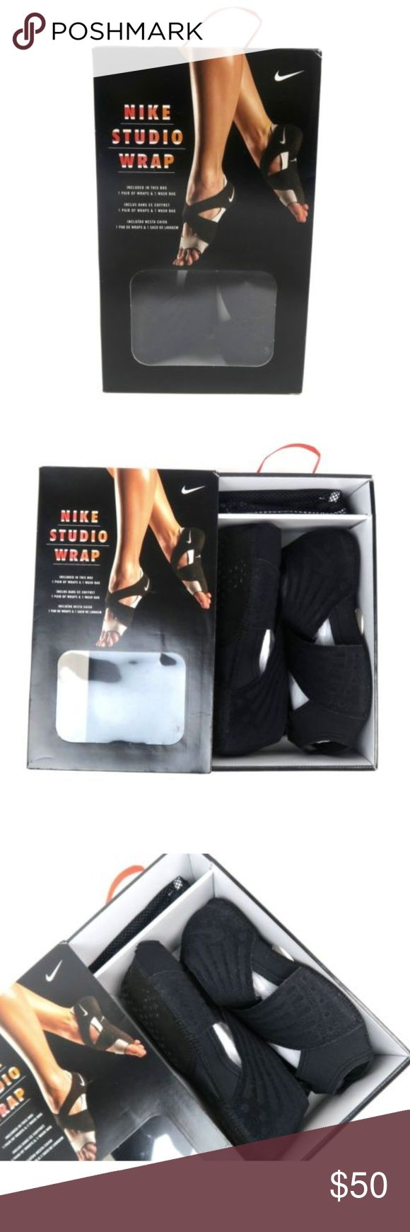Nike Studio Wrap 4 Yoga Barre Dance Size 10 NIB Nike Studio Wrap 4 Size 10 The lightweight, stretch mesh top layer crisscrosses over the top of your foot and wraps around your heel for support right where you need it. A flocking material is bonded to the straps for essential structure without adding weight. The sandwich mesh bottom layer wraps your heel and toes for a breathable, supportive fit.  Silicone traction pattern on the bottom, Includes a garment bag and washing instructions for…