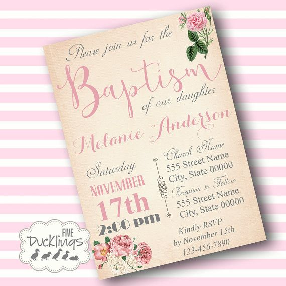 Baptism Digital Invitation Printable Digital Invitation NO PHYSICAL ITEM WILL BE SHIPPED TO YOU All our listings are for digital files only. PRINT AT
