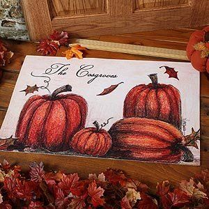 Personalized Autumn Pumpkin Welcome Door Mat . $22.95. Artist Ellen Wehrmann has created a work of art around some of the most recognized symbols of autumn with our exclusive Autumn Pumpkin Patch Doormat. This elegant piece of art depicts different sizes of pumpkins, fresh off the vine and ready to decorate your home for fall. We then creatively incorporate your family or first name(s) into the design - the perfect addition to any home decor.