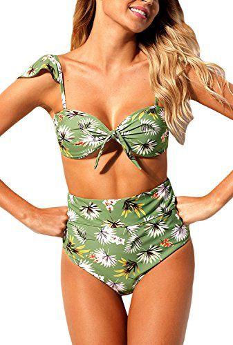 cc2ee8e33e1cc Dokotoo Womens Floral Print Bandeau Cap Sleeve Tie Front Bikini 2 Piece  High Waist Swimsuit