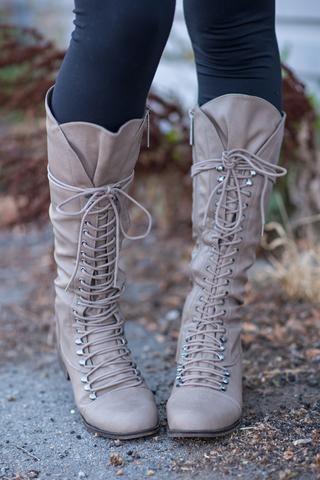 Down In Georgia Lace Up Boots (Beige) - NanaMacs.com - 1
