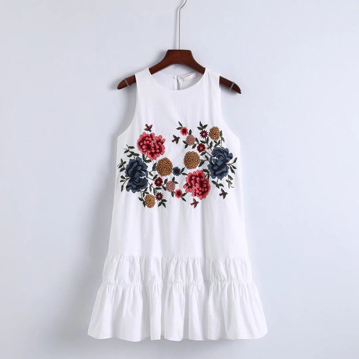 Find More Dresses Information about YSMILE Y Lady Cute Loose Mini Dress For Summer Flowwer Embroidery Sleeveless Elegant Short White Slim Above Knee Dress,High Quality dress for,China dresses for summer Suppliers, Cheap knee dress from Tryow Store on Aliexpress.com