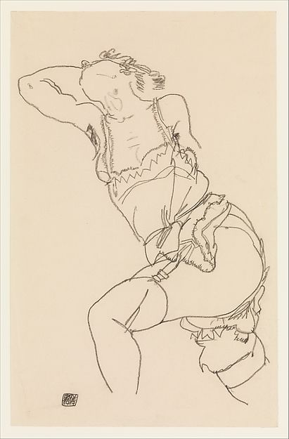 Reclining Model in Chemise and Stockings Egon Schiele 1917