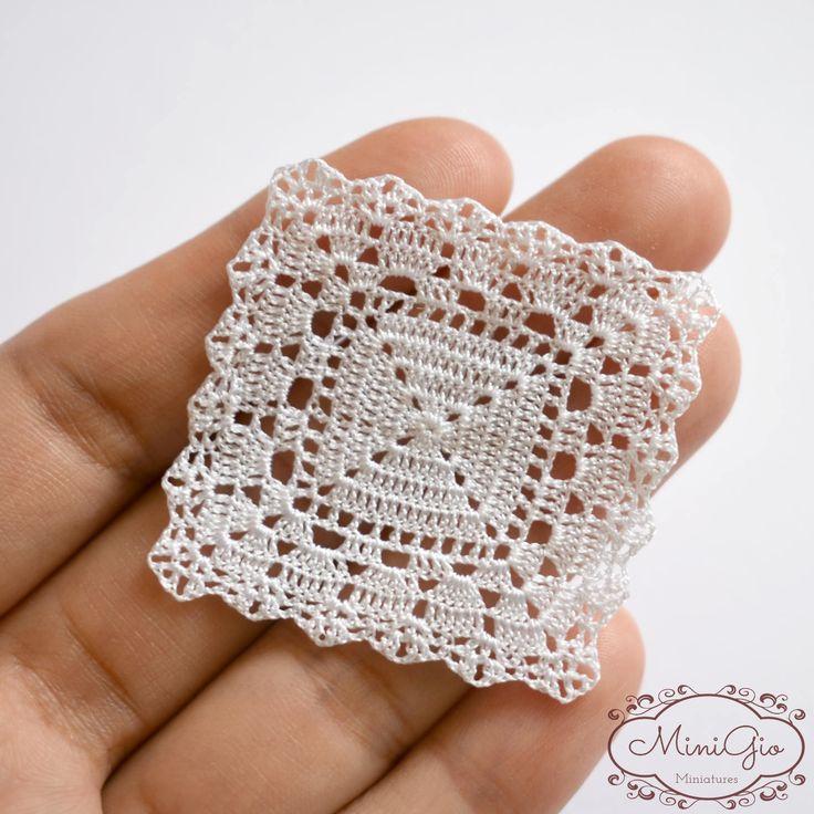 Miniaturas crochet tapete cuadrado 1.6 pulgadas mantel de