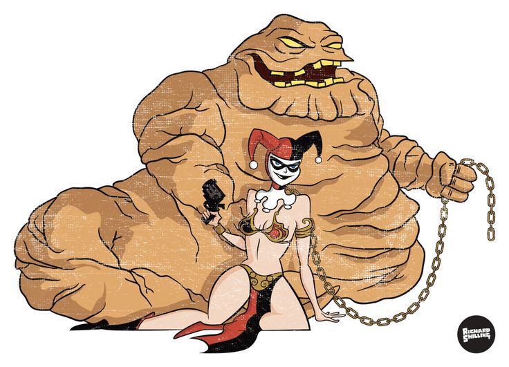 A T-shirt design I was commissioned to produce some time ago - Harley Quinn as Princess Leia and Clayface as Jabba ;)