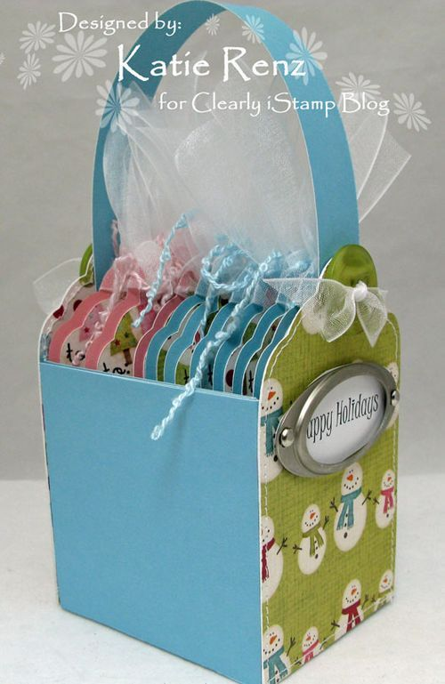 gift tags in a little box - tutorial for the box