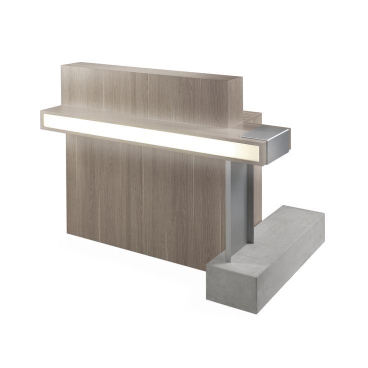 Natural desk r ception mobicoiff projet salon de for Accessoire pour salon de coiffure