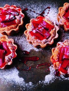 Rhubarb and almond tarts