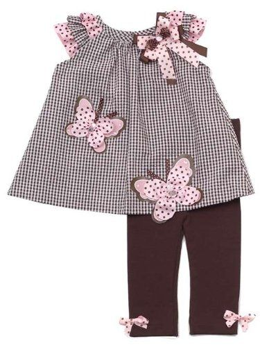 Amazon.com: Rare Editions Baby Girls Butterfly Seersucker Dress Outfit Set w/ Leggings , Brown , 2T - 4T: Clothing