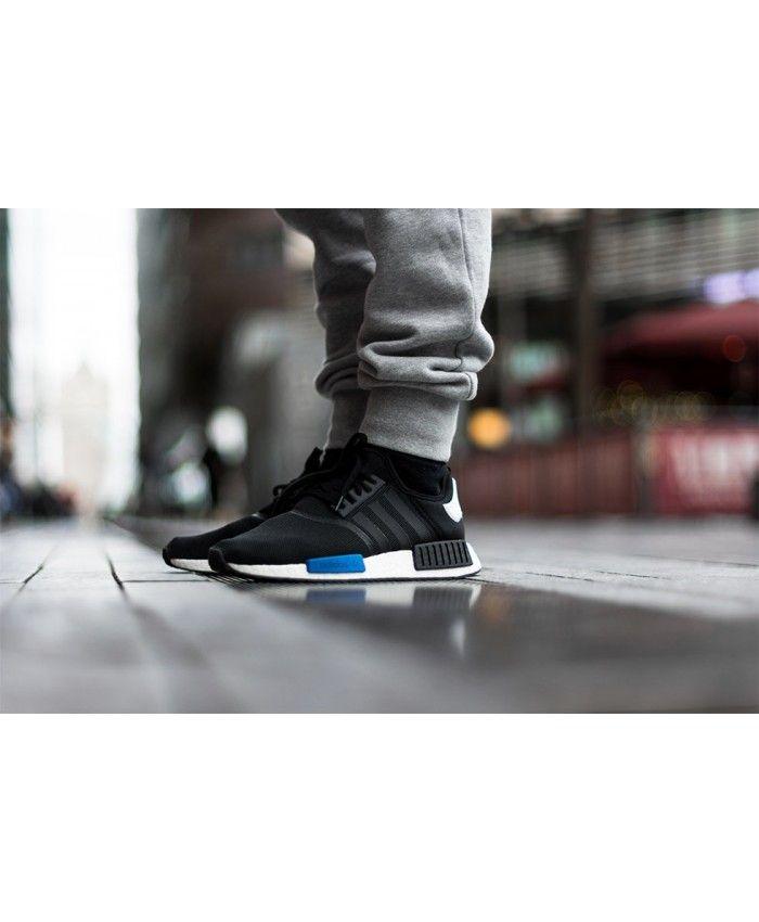 Adidas Nmd R1 Mens Black White Deep Blue Runner Shoe Adidas Nmd
