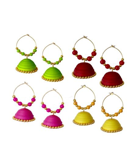 Green , Red, Pink and Yellow Handmade Paper Jewellery Quilled earrings Jhumka - Tia Women jewellery