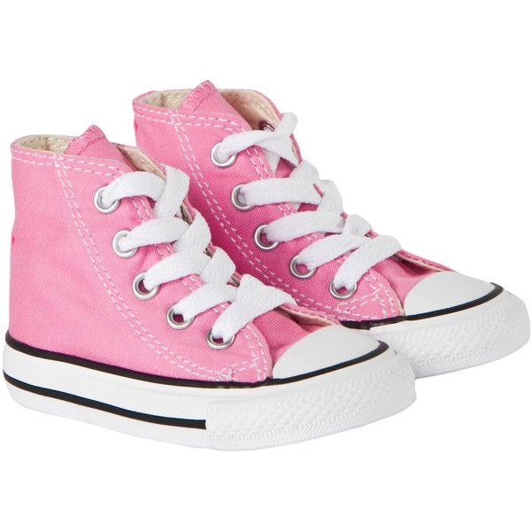 Converse Chuck Taylor All Star Hi Top Pink ($40) ❤ liked on Polyvore featuring shoes, sneakers, high top shoes, pink sneakers, high-top sneakers, star shoes and converse footwear