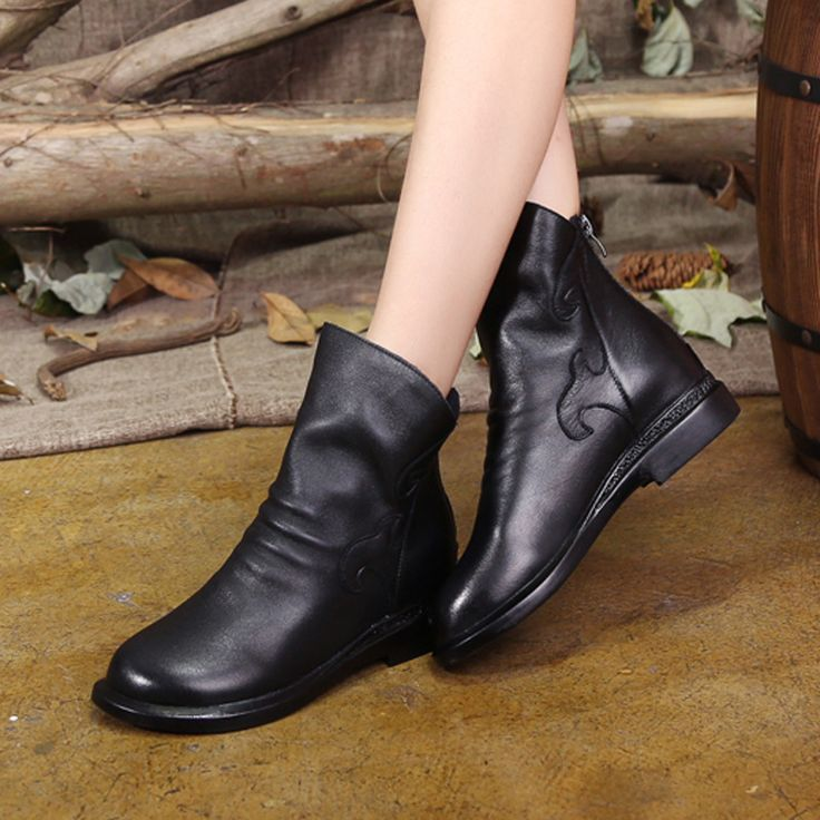 2017 Autumn Women Ankle Boots Black Designer Ladies Low Heel Chelsea Boots Handmade Women Leather Boots Slip On Style Pleated #Affiliate