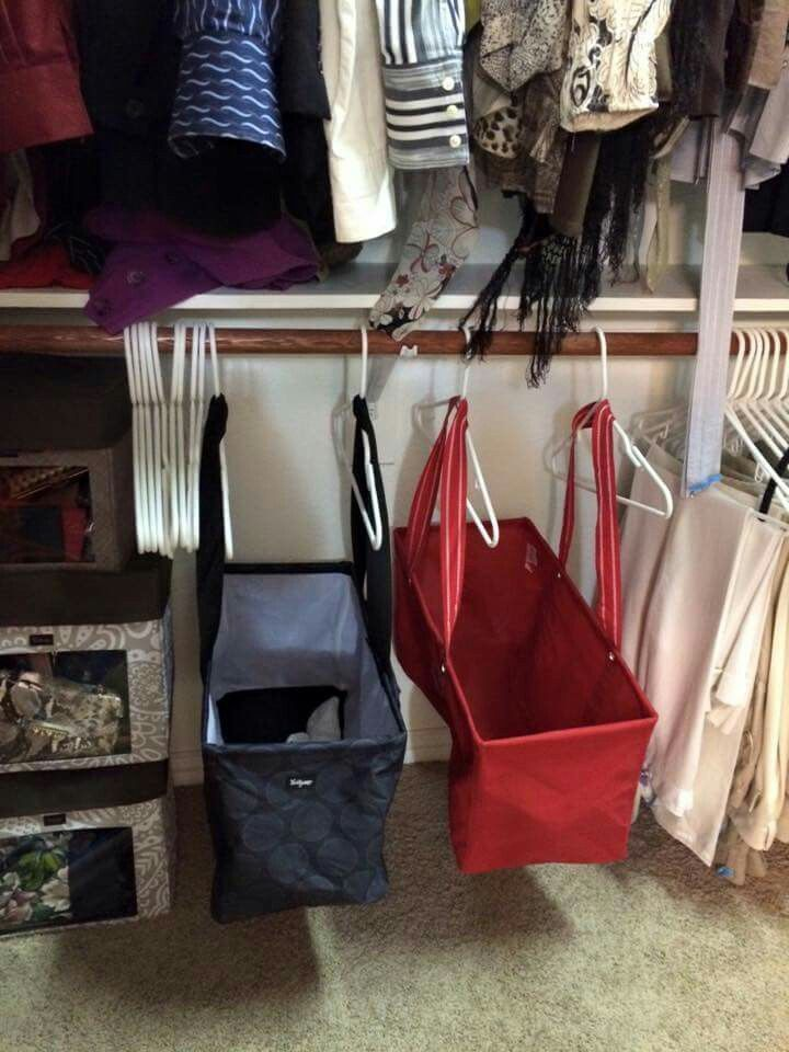 Organization ideas for the closet - place large utility totes on hangers for more organization and free space in your closet.  www.mythirtyone.com/desiraecox