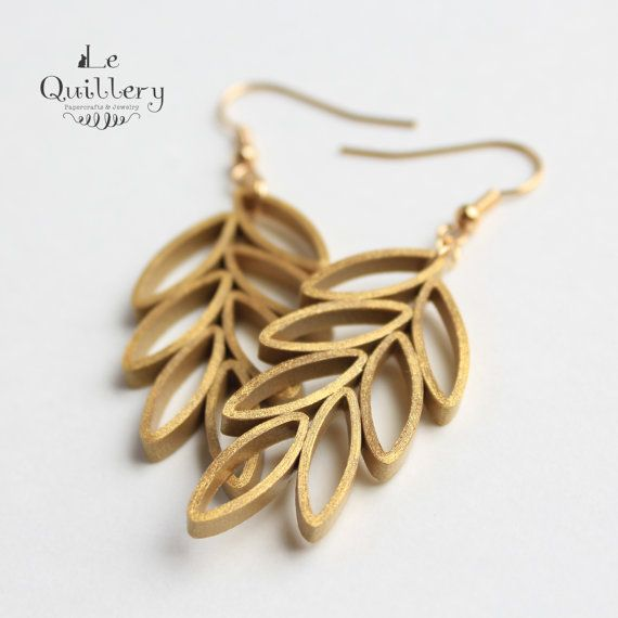 Quilling Jewelry Quilled Paper Unique Statement Earrings - Gold Leaves by LeQuillery, $17.00. So cute!