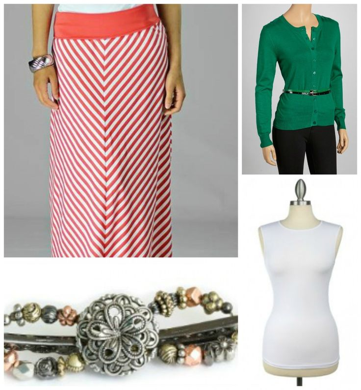 Coral Striped Skirt, Green Cardigan, White tank, and Flexi Clip for a cute fall outfit!