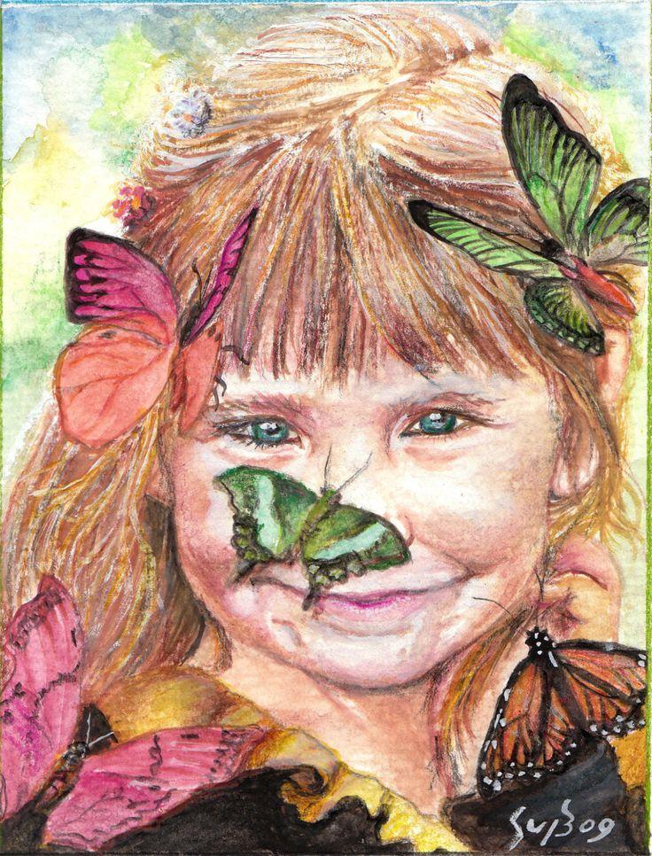 Art Little Butterfly Girl Portrait