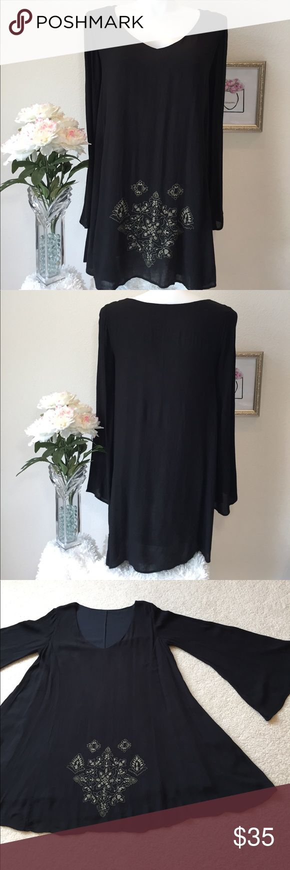 """Boho Dress from a Wine Country Boutique Fits up to a 14 comfortably.  Shell is Rayon - Lining is Cotton Bust: 41"""" Length: 33.5"""" Condition: New Without Tags Boutique Dresses"""