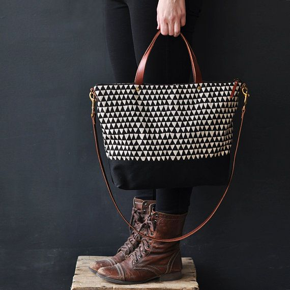 CARRY BAG TRIANGLE by bookhouathome on Etsy, $125.00 (via http://flygirls.typepad.com)