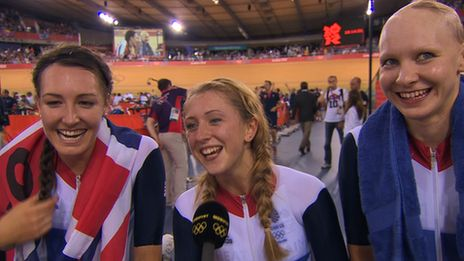 "Great Britain's track cycling pursuit team of Dani King, Laura Trott and Joanna Rowsell are thrilled to win gold at the London 2012 Olympics, with King saying the trio are ""like sisters"""