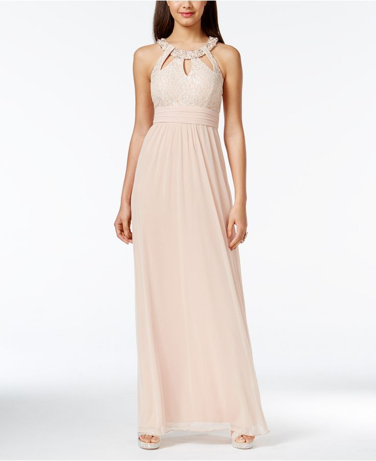 City Studios Juniors' Embellished Shine Lace Cutout Gown - Juniors Prom Preview - Macy's