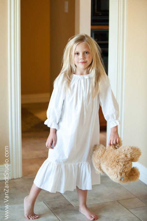 Long Sleeved Vintage White Cotton Nightgown Vintage