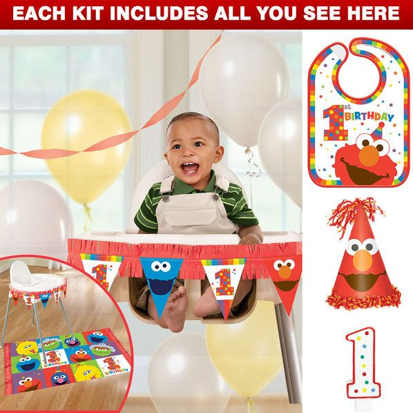 Check out Elmo Turns One High Chair Decoration Kit | Elmo's 1st Birthday tableware & décor from Wholesale Party Supplies from Wholesale Party Supplies