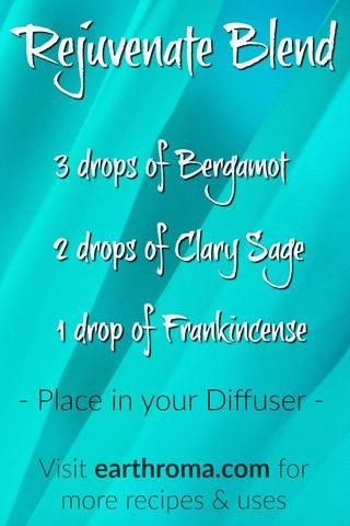 Try our Rejuvenate Essential Oil Blend for a fresh, mind stimulating aroma.   3 drops of Bergamot Essential Oil.  2 drops of Clary Sage Essential Oil.  1 drop of Frankincense Essential Oil.  Place in your diffuser and enjoy.  Visit http://www.earthroma.com/ for more recipes.