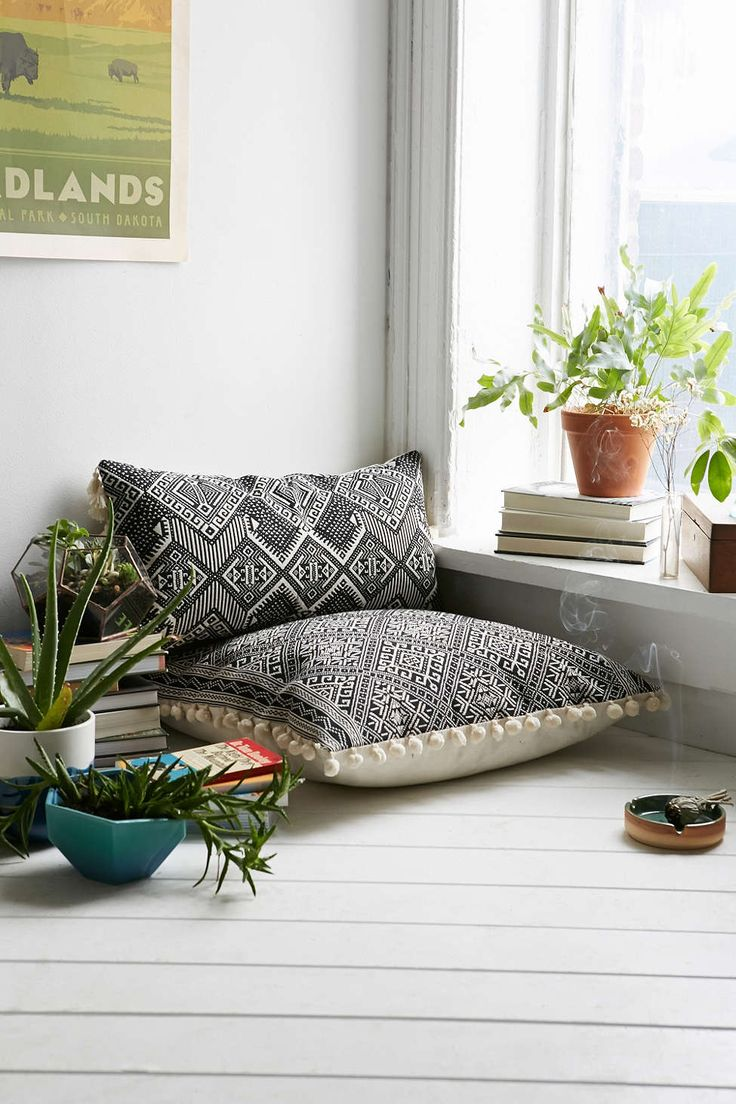 Magical Thinking Black + White Rectangle Pillow. Large black and white ethnic print floor cushions.