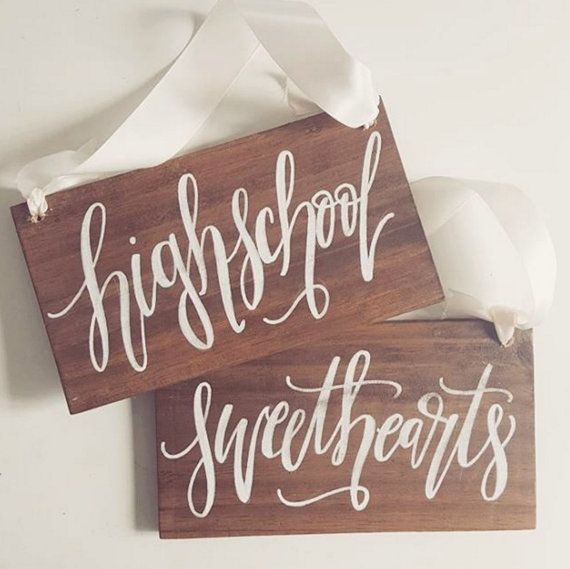 Highschool Sweethearts Chair Signs, Rustic Wooden Wedding Signs, Photo Prop Signs, The Paper Walrus