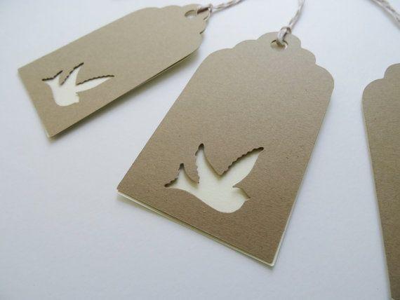 Dove Wedding Wish Tags Kraft Card Stock Dove Cut by CutOutTheFun #springweddings #spring #weddingdoves #doves