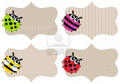 Price or school tags with cute bugs. Vector Illustration
