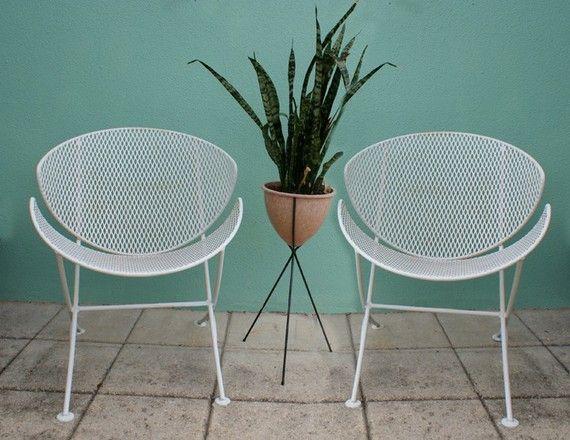 Vintage 2 Mid Century Salterini Patio Chair Set Eames Era