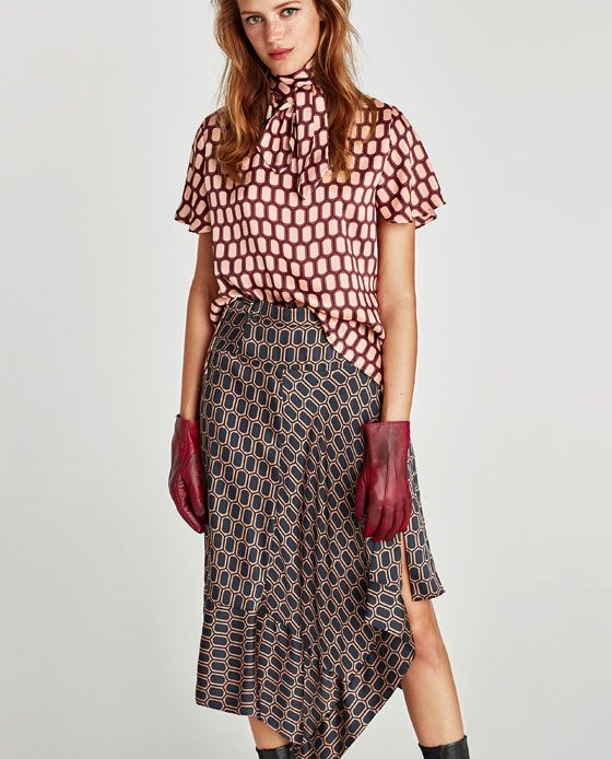 Image 2 of PRINTED HIGH COLLAR BLOUSE from Zara