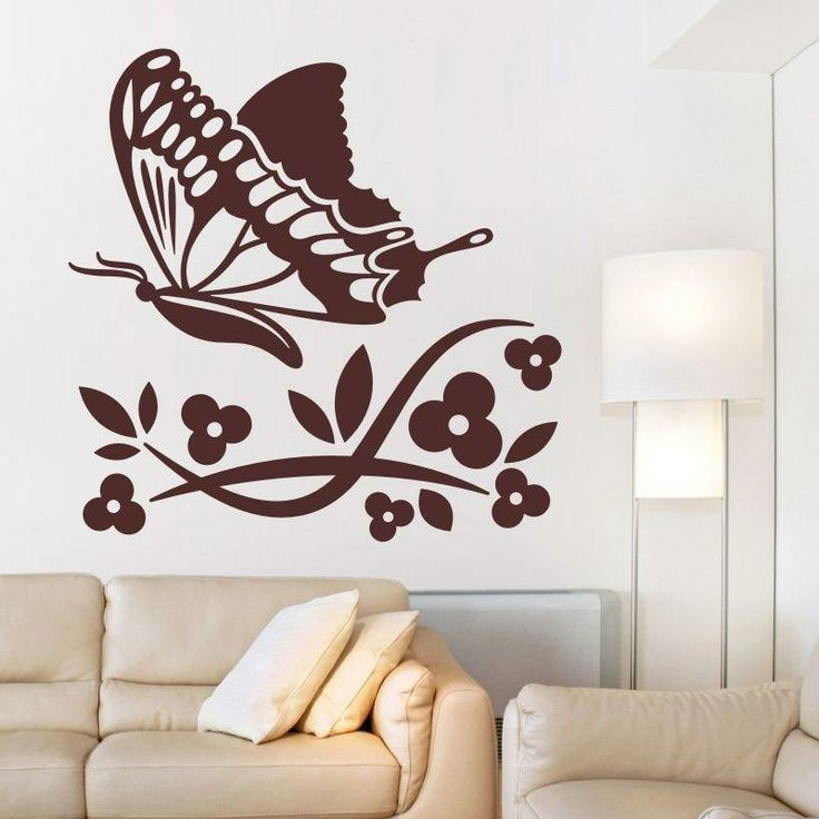 Naklejka welurowa - Kwiatki i motyl | Decorative sticker - Flowers & butterfly | 41,60 PLN #decorative #sticker #flowers #butterfly #home_interior #interior_decor