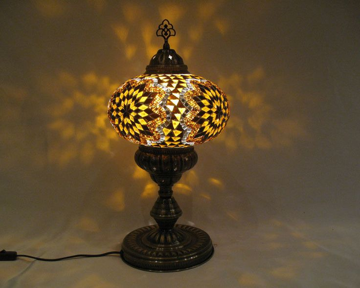 Yellow Mosaic Glass Table Lamp Tischlampe Moroccan Lantern Lampe Mosaique  51 #Handmade #Moroccan