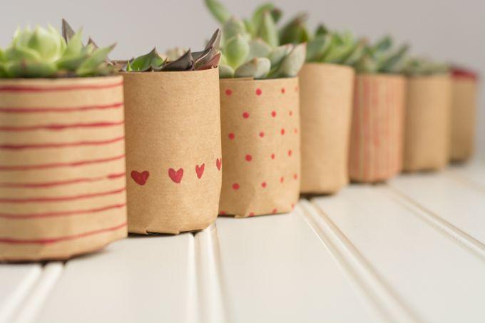 Paper Bag Succulents For Valentine S Day Paper Pot Flower Pots