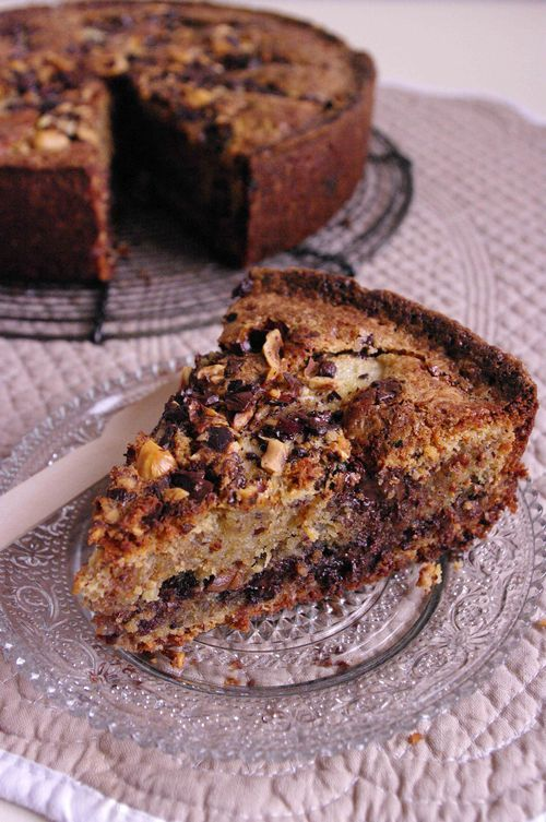 Gâteau aux poires, noisettes et chocolat