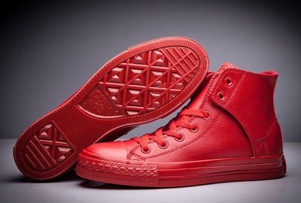 7450c9965d0 All Red All Star Converse Leather Side Velcro High Tops  converse  shoes