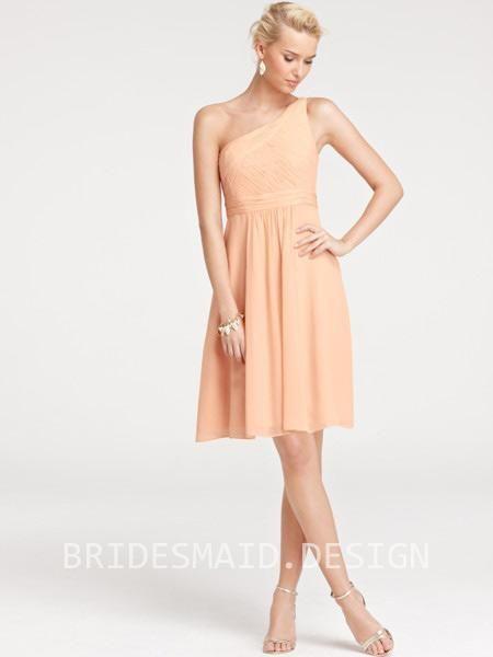 Shirred Bridesmaid Dress One-shoulder A-line Knee Length