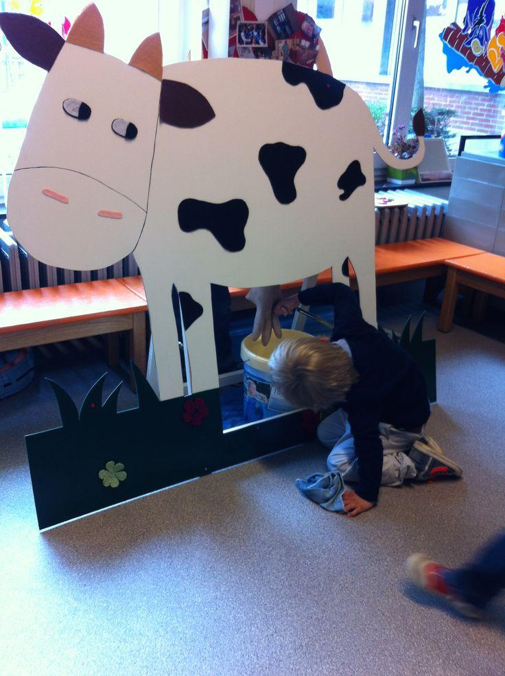Thema melk. Koe melken.