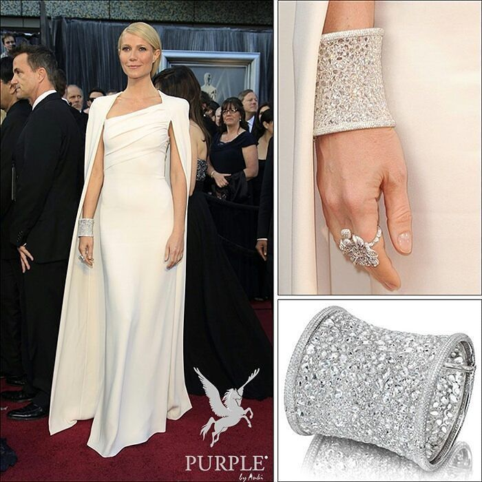 For the 84th Annual Academy Awards the svelte beauty @gwynethpaltrow wore a white one-shoulder colum dress with matching cape by Tom Ford hair styled in a slicked-back ponytail and side-swept bang and dressing for the kill with an Anna Hu Hearts of Winter cuff bracelet (with only 2368 brilliant diamonds by the way) and a diamond flower ring as well. Now that's the way to do it! By @annahu_hautejoaillerie #purplebyanki #diamonds #luxury #loveit #jewelry #jewelrygram #jewelrydesigner #love…