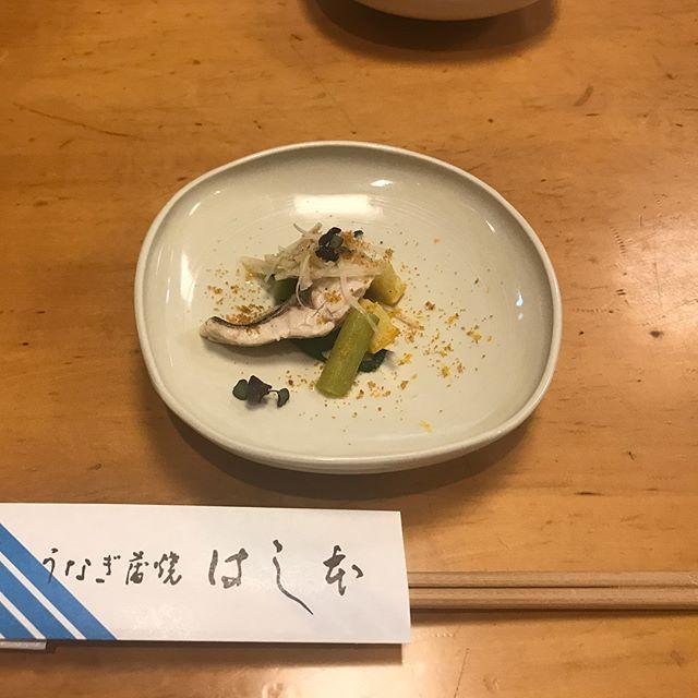 昨日はまた別のお客さんのお店へ。 去年も、そして数日前にも花田さんでたくさんお嫁にもらっていってくださったので、ほぼカズさんの器を使って料理を出してくださいました☺️! うなぎの白焼きと豆乳のムースや鰻の肝焼き、しじみ出汁の鹿児島県産のドジョウのお吸い物。 そして、ウナギのお刺身! 初めて食べました😳✨ 鰻は血に毒があるらしく、血抜きがしっかりできてないものは食べた後に少しだけ、口の中がピリピリします。 鰻の白焼きは鮎の魚醤につけていただきました🍽 ぶつ切りで旨味が閉じ込められた蒲穂焼きに鰻ざく。 最後はうな丼☺️☺️ 一つ一つ丁寧に説明してくださって、料理もすごく美味しかったです。 老舗のお店だけど、新しいことに挑戦していっているところが素敵でした。 大将のカズさんの器への愛情をひしひしと感じて2人とも幸せな気持ちで帰りました🤗 #はし本#うなぎ#日本橋#kazuoba#pottery#ceramic#tokyo