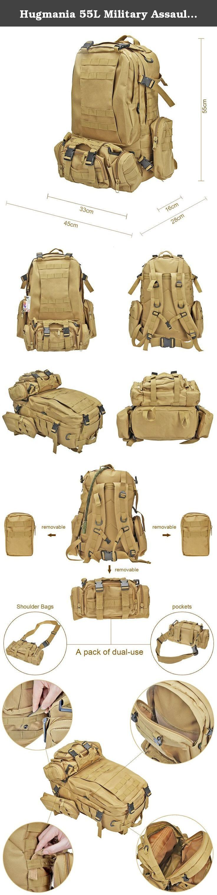 Hugmania 55L Military Assault Tactical Backpack 3 Molle Bags Pack Combat Rucksack Gear with 3L Water Bladder/ Boonie Cap/ Survival Multitool Kit for Camping, Hiking, Trekking, Climbing, Travel (khaki). This New Hugmania Tactical Backpack is ideal and convenient for taking outdoor activities, such as hiking, camping, or climbing. With this Large bag, you're prepared to take on all types of weather conditions and terrain. High quality with competitive price and more Useful gears are…