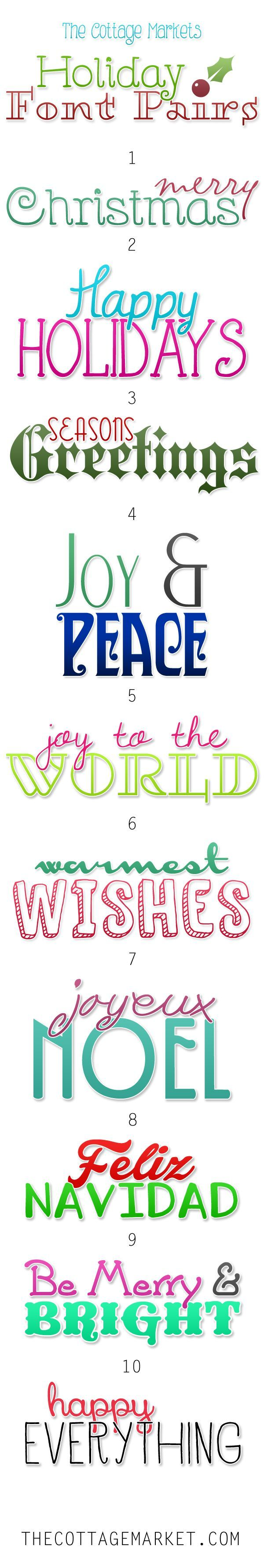 Free Fonts Holiday Pairs - The Cottage Market #FreeFonts, #FreeFontCombos, #FreeFontPairs, #FreeHolidayFontPairs, #FreeFontHolidayPairs