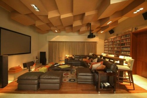 Home theater:  Tall, long table behind the couch to use for extra seating and as an eating/drinking area.