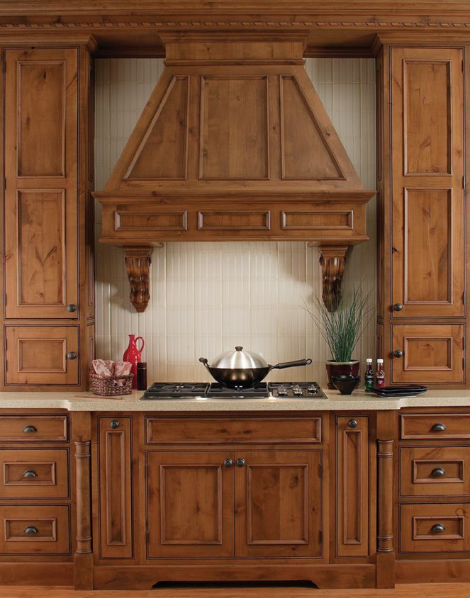 Rustic Cabin Kitchen Design With Knotty Wood Cabinets