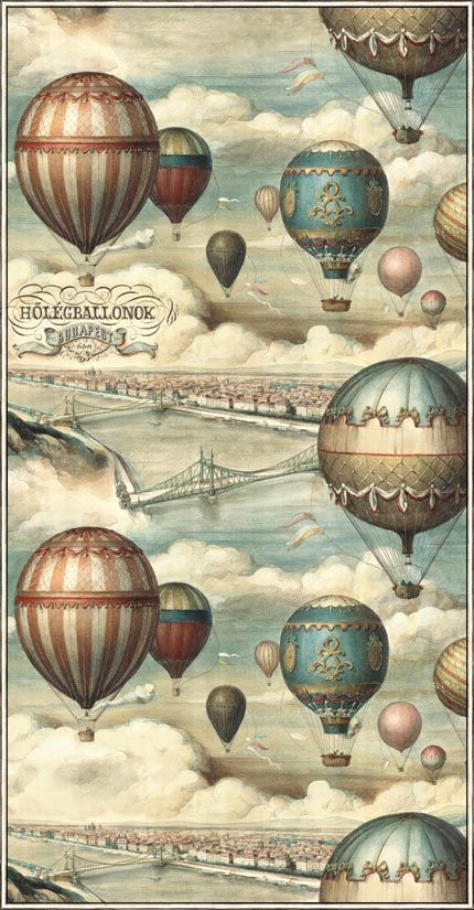 Hőlégballonok Budapest felett (Hot-air balloons over Budapest), a vintage ballooning illustration turned into wrapping paper by Bomo Art, Budapest: