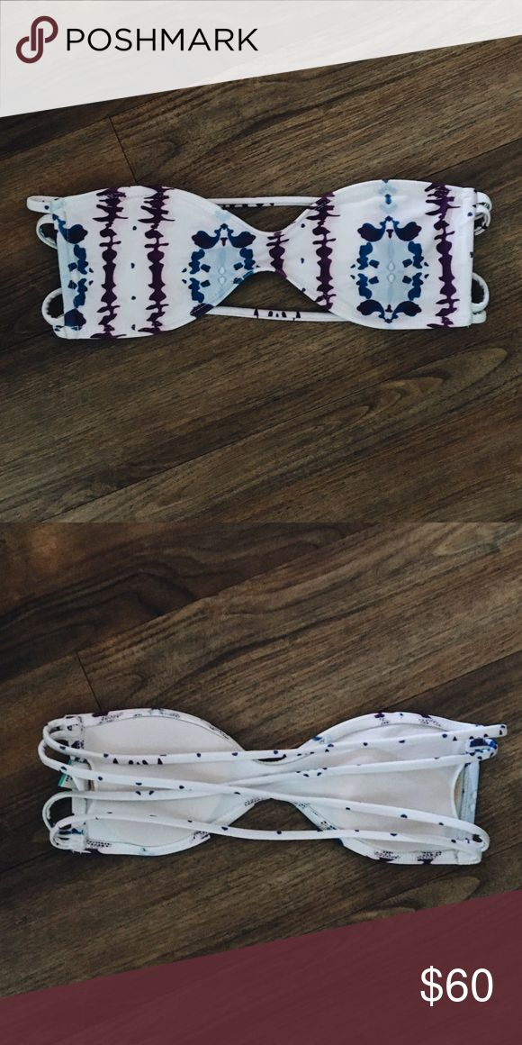 Kovey Bandeau Bikini Top Kovey bandeau bikini top. White with blue and purple tie dye. Strappy back. Worn once. Size extra small. Kovey Swim Bikinis
